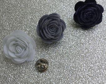 lapel pin, felt rose, gentleman's accessory, men's style accessory, men's fashion.