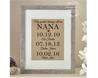Personalized Nana Gift Mothers Day For My Greatest Blessings Call Me Grandchildren Name Wall Art Grandma