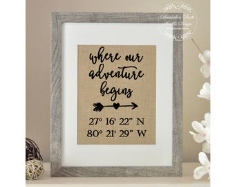 Latitude Longitude Sign, Anniversary Gift, Engagement Gift, Where Our Adventure Begins, Husband Wife Gift, Best Friend Wedding Gift, Holiday