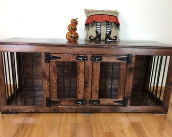 Pretties (#1 On Etsy)  Double Dog Kennel/Custom Kennel/Handmade Kennel/Dog  Bed/Dog Crate Furniture/Pet Furniture/Tiger Woods