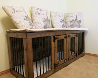 Double dog Kennel/TV Stand/Dog Kennel/Custom Kennel/dog crate furniture/Bed/Dog Crate Furniture/Pet Furniture