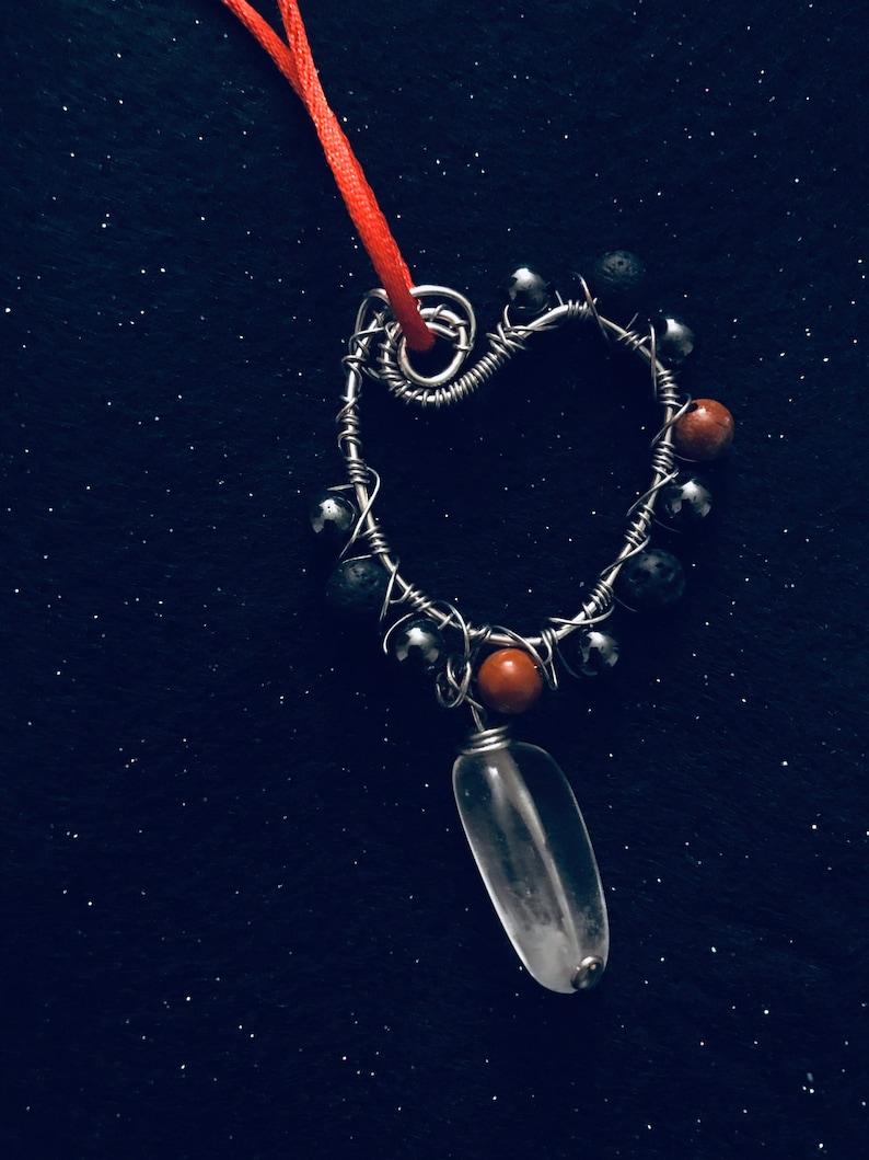 Wire wrapped Black Lava Bead Pendant Red Jasper Quartz Hematite Quartz Necklace