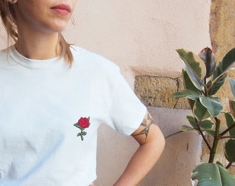 T-shirt hand embroidered PINK - 100% cotton