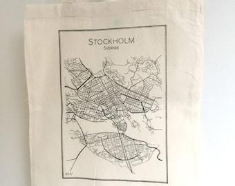 Tote bag screen printed handmade STOCKHOLM - 100% cotton