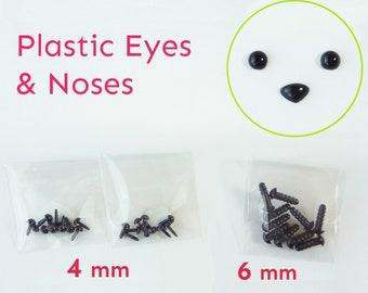 Mini Black Plastic 4mm Eyes & 6mm Noses ( 4mm Eyes 20 pcs / 6mm Noses 10 pcs )
