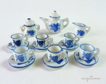 Miniature GRAPE TEA SET - Teacup and Saucer Set of 6, with Teapot, Sugar Bowl, Cream Pitcher
