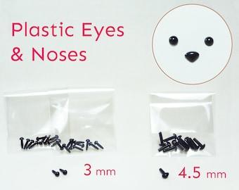 Mini Black Plastic 3mm Eyes & 4.5mm Noses ( 3mm Eyes 20 pcs / 4.5mm Noses 10 pcs )