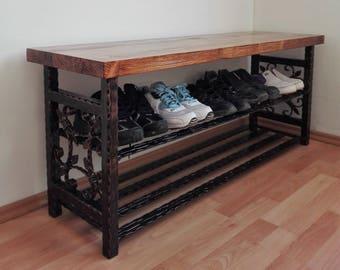Etonnant Vintage Shoe Rack Bench Organiser Shoe Storage Solution Stand Hallway  Entryway Furniture Unit Shoe Organizer Handmade Metal Wood Home