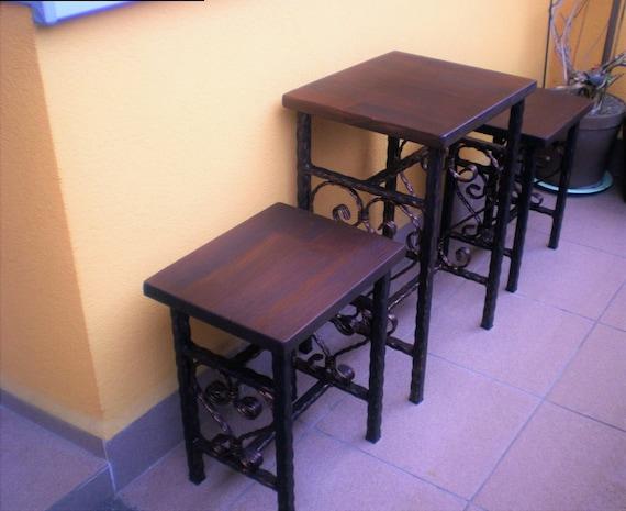 Vintage en fer forgé balcon ensemble 2 chaises et 1 Table de jardin meubles  fait à la main