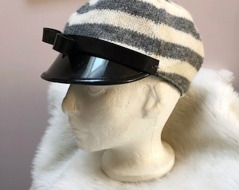 a25680695d0e6 Bernstock Speirs Rome Hat Wool Cap Stripe Grey White Black Rubber Bow