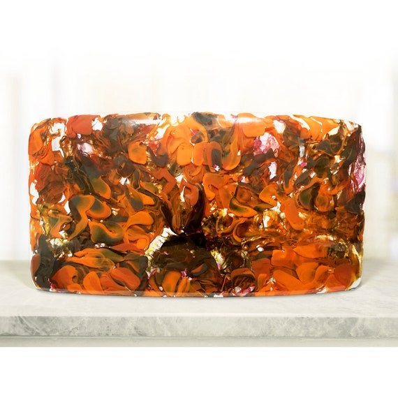 Upcycled Glass Sculpture - 'Orange Petals'