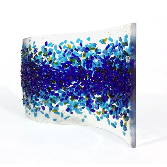 Sculpture - Fused glass - 'Blue SPLASH Glass Art'