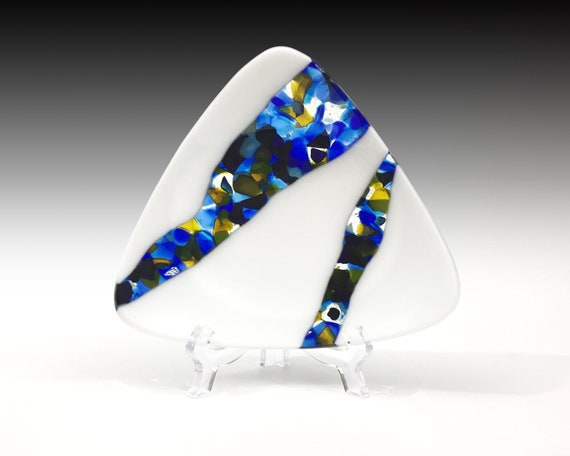Streaming Jewels 3 - fused glass plate