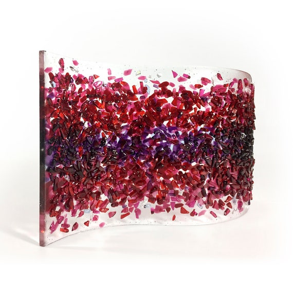 Sculpture - Fused glass - 'Cranberry SPLASH Glass Art'
