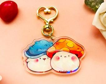 Holographic mushroom keychain   Mushroom keychain   Gamer keychain   Cute keychain
