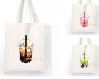 Bubble tea tote bag   Boba canvas bag   Bubble tea bag