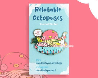 Ramen enamel pin   Octopus enamel pin   Cute enamel pin   Glitter Enamel Pin   Enamel pin