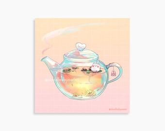"Afternoon tea art print   Teapot art print   Food art print   Cute art print decor (4""x 4"")"