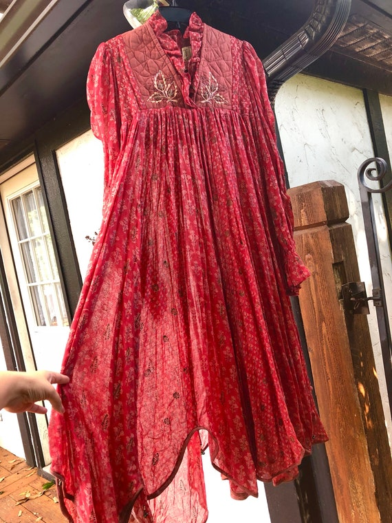 Rare vintage Phool Indian Gauze Dress Red Maxi Boh