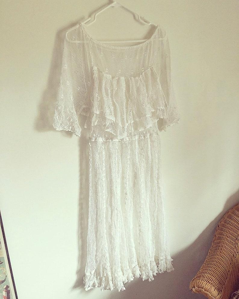 Vintage Deadstock Crochet Cut Out White Lace Midi Dress Edwardian Boho Festival Style