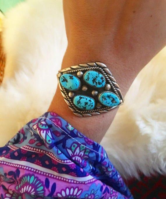 Vintage Native American Turquoise Cuff Bracelet Un