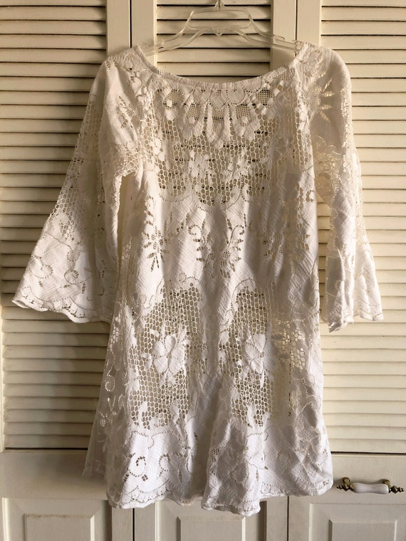 Vintage Lace Cut Out Mini Dress 1960s Boho Festiva