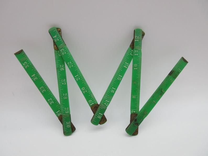 Vintage Green Folding 36 RULER by Dunlap Tool Yardstick Yard stick