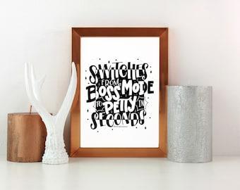 Boss Mode Print | Office Decor | Motivational Print | Wall Art Print | Typography Print | Lettering Print