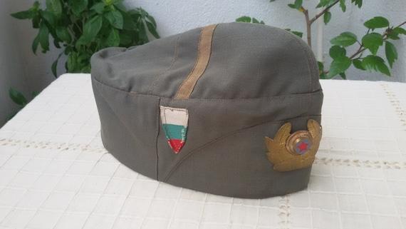 Vintage soldier cap Old Bulgarian military hat Green  c9cbd867897