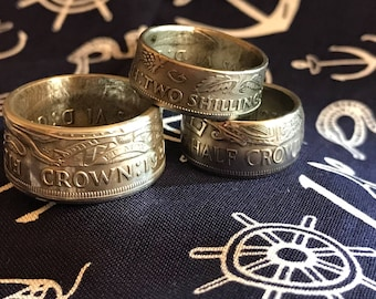 Half-Crown, Crowns, Two Shillings ~ Coin Rings
