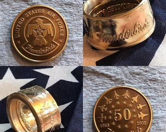 US Air Force Thunderbirds 50th Anniversary Challenge Coin Rings