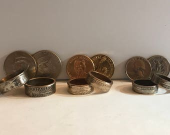 US Circulation Coin Rings (Quarter, Half Dollar, Dollar)