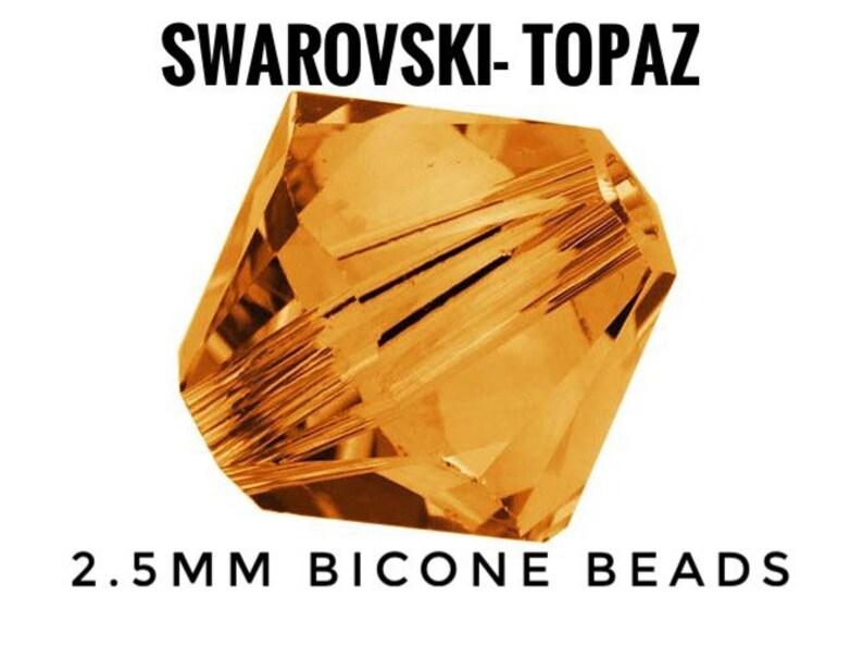 44424436cd 100 pk 2.5mm Swarovski Topaz Precision Faceted Bicone Beads