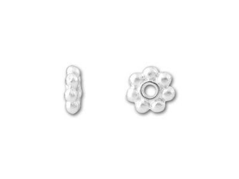 20pc Petal Flower Rondelle Disc Bead Cap Charms 4mm TierraCast Bright Silver Plated Pewter Beaded Heishi Daisy Spacer Beads Tiny Round 7