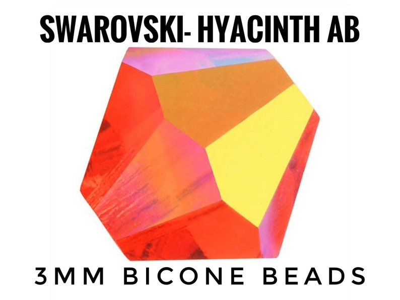 6db5835b4 100pc/pk 3mm Swarovski Hyacinth AB Precision Faceted Bicone | Etsy