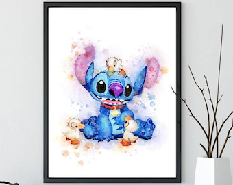 Stitch Art, Lilo & Stitch Watercolor Poster, Disney Art, Movie Poster, Wall Art, Kids Art, Ohana Poster, Home Decor, Kids Room Decor -