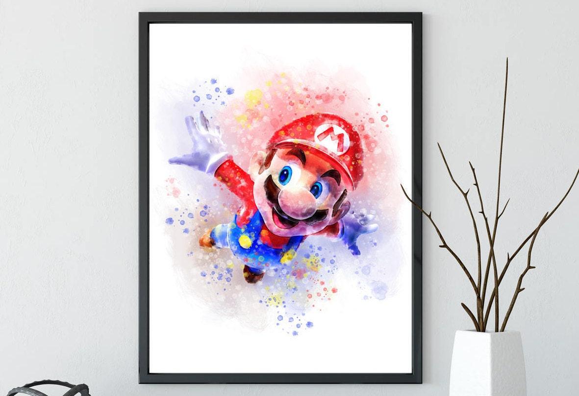 Super Mario Brothers Mario Bros Yoshi poster watercolor   Etsy