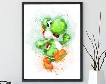 Yoshi Print, Super Mario Bros art, Video Game Art,Mario Watercolor, Yoshi nursery Decor, Super Mario Birthday Party, Digital download