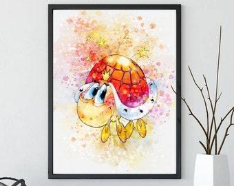 Watercolor Turtle Nursery Print,Nautical Print, Sea Turtle Print, Watercolor Print, Digital Download Watercolor Print, Wall Art Print