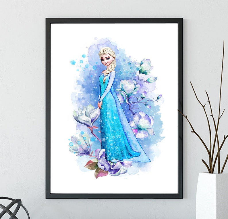 . Frozen Elsa Print  Frozen Disney Frozen wall decor   Frozen Watercolor   Frozen Art Print  Frozen Wall decor  Disney Princess Poster