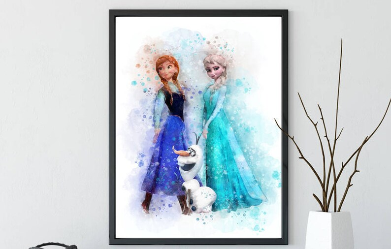 image regarding Elsa Printable titled Frozen Elsa print Frozen wall decor Elsa printable Disney Frozen print Elsa Anna watercolor Frozen Disney printable Anna poster