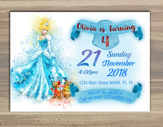 princess cinderella birthday invitation princess cinderella etsy