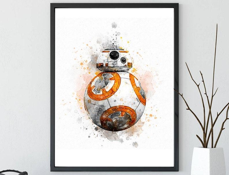 Star Wars Watercolor Bb8 Robot Print Gift Scifi Nerd Movie Film Print Star Wars Printable Instant Download Nursery Art