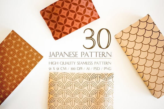 30 Designs Japanese Pattern Digital Set Kumiko And Sashiko Etsy