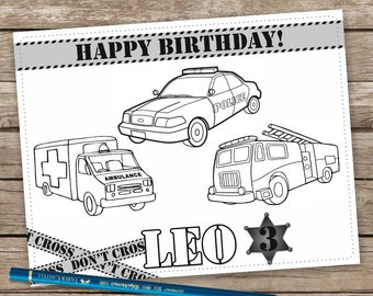 Police Oficcer Placemat Coloring Birthday Table Mat Policeman Fire Truck Party Favor Ambulance Sheet Personalized