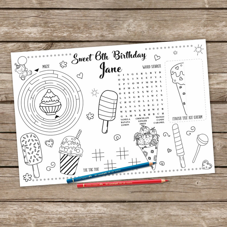 Ice Cream Birthday Table Mat, Ice Cream Party Activity Placemat, Printable  Summer Coloring, Sunshine Party Game Activity Page