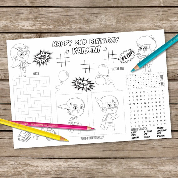 Printable Superheroe Table Mat Kids Activity Placemat Superboy Printable Coloring Supergirl Colouring Placemat Paint Party