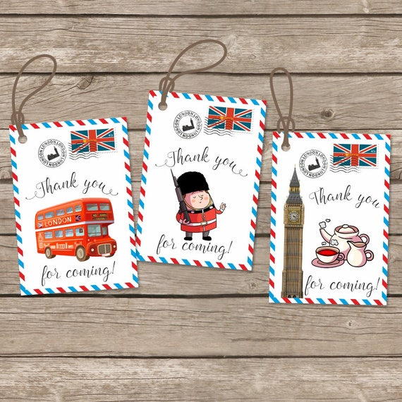 Instant Download London Birthday Thank You Tags Big Ben Gift