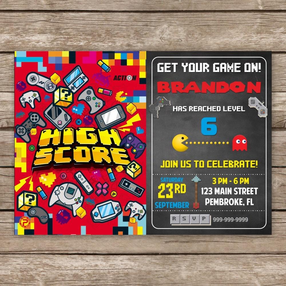 Video Game Birthday Invitation Gaming Party Invitation Video | Etsy