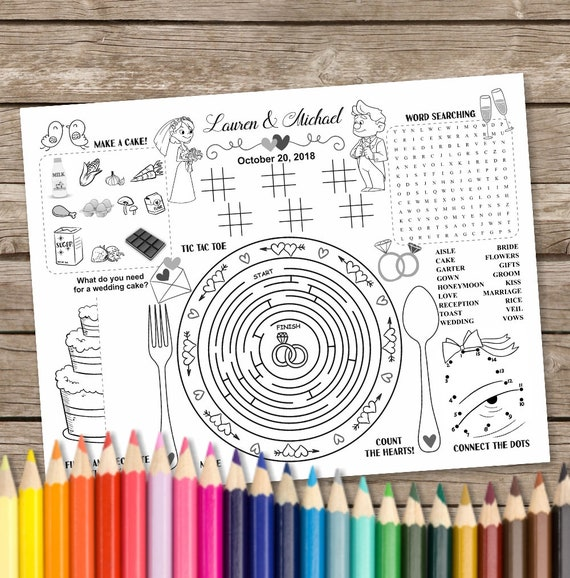 Printable Wedding Table Mat Kids Activity Placemat Wedding Coloring Activity Page Printable Party Game Wedding Placemat